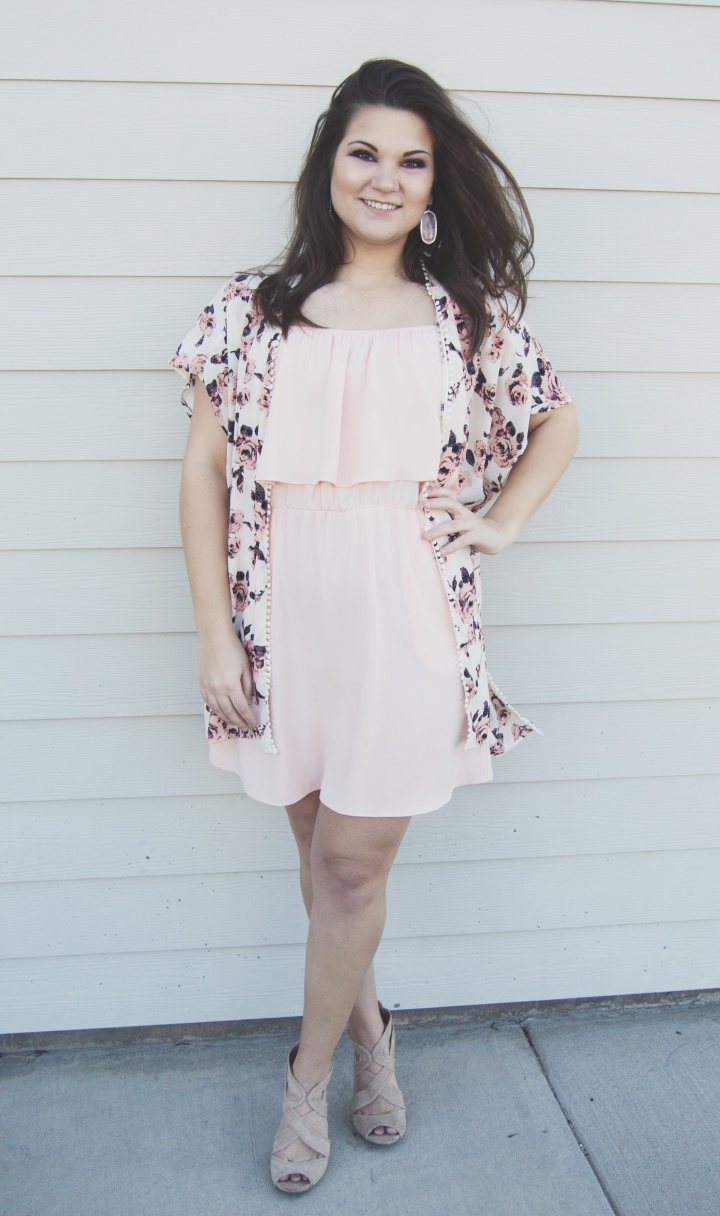 Valentine's Day Outfit Inspiration - blush dress, floral kimono