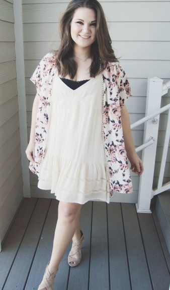 Valentine's Day Outfit Inspiration - white dress, floral kimono